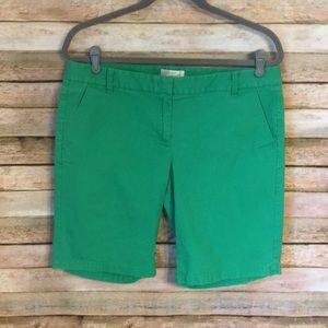 Size 10 J. Crew Factory Green Bermuda Shorts